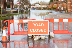 Warning Traffic Sign On Flooded Road Royalty Free Stock Photography