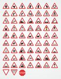 British Warning Traffic Signs. Warning signs are used to alert drivers to potential danger ahead. They indicate a need for special caution by road users and may vector illustration