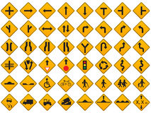 Warning Traffic Signs Vector Set Stock Photos