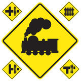 Warning train sign Royalty Free Stock Photography
