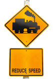 Warning train traffic sign Stock Images