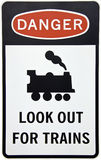 Warning for trains sign royalty free stock images