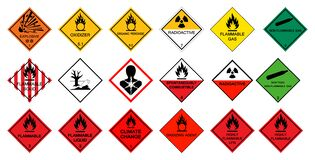 Free Warning Transport Hazard Pictograms,Hazardous Chemical Danger Symbol Sign Isolate On White Background,Vector Illustration Stock Photo - 172043550