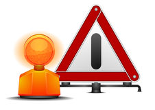 Warning triangle. Detailed illustration of a warning triangle with a safety lamp  on white Stock Photo