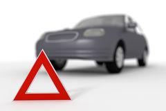 Warning triangle for a broken down car Royalty Free Stock Photography