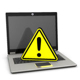 Warning Triangle Laptop Stock Photo