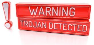 Warning Trojan Detected - 3d banner,  on white backgroun Royalty Free Stock Photos