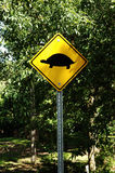 Warning for turtle's crossing. Royalty Free Stock Photos