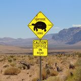 Warning for turtles on the road in Red Rock Canyon Stock Images
