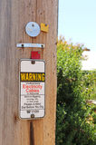 Warning, Underground Electricity Cables sign Royalty Free Stock Photo
