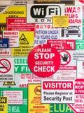 Warning. Various warning and interdiction signs posted on a wall in Penang, Malaysia royalty free stock photo
