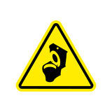 Warning WC. Toilet bowl on yellow triangle. Road sign attention Royalty Free Stock Images
