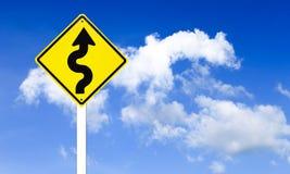 Warning Winding traffic sign Royalty Free Stock Image