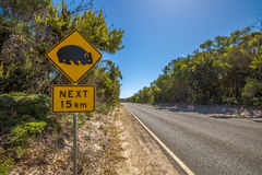 Warning: Wombat Crossing sign Royalty Free Stock Images
