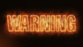 Warning Word Burning Realistic Fire Flames Sparks continuous seamlessly loo. Hot Burning on Realistic Fire Flames Sparks And Smoke continuous seamlessly loop stock video footage