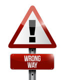 Warning wrong way sign illustration. Design over a white background Stock Photography