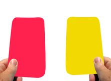 Warning yellow card and red card. Your sent off Royalty Free Stock Images