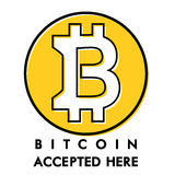 Warning yellow circle sticker accepts bitcoin. In this shop vector illustration