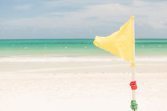 Warning yellow flag Royalty Free Stock Photo