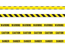 Warning yellow tape. Vector seamless pattern  on white background Stock Photos