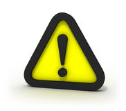 Warning Yellow Triangular Sign 3D. Red triangular warning sign over white background Stock Photos