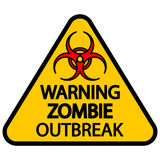 Warning zombie outbreak. Road sign warning zombie outbreak on white background Royalty Free Stock Image