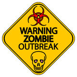Warning zombie outbreak. Road sign warning zombie outbreak on white background Stock Photography