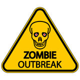 Warning zombie outbreak. Road sign warning zombie outbreak on white background Stock Photo