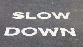 A warnning sign SLOW DOWN painted on the bike lane Stock Photo