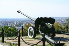 Warnung-Gewehr in der Saratow-Stadt lizenzfreie stockfotos