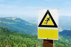 Warnzeichen auf einer Klippe lizenzfreie stockfotografie