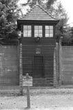 Warnzeichen in Auschwitz Stockfotografie