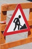 Warnzeichen der Arbeiten voran Stockfoto