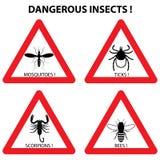 Warnzeichen der gefährlichen Insekten: Zecken, Moskitos, Bienen, scorpi Stockbilder