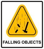 Warnzeichen der Gefahrenfallendes Gegenstände Auch im corel abgehobenen Betrag Lizenzfreies Stockbild