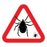 Warnzeichen der Milbe Vektorillustration des Warnzeichens der Zecke Warnzeichen der Knospe Warnzeichen des Parasiten Milbenhaut-P Lizenzfreies Stockfoto