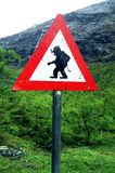 Warnzeichen der Schleppangel Stockfoto