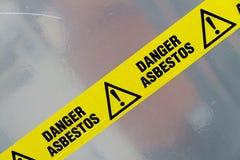 Warnzeichen des Asbests Stockbild