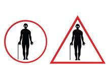 Warnzeichen des blinden Mannes Lizenzfreies Stockbild