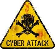 Warnzeichen des Cyberangriffs, grungy Art Stockfotos