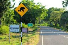 Warnzeichen des gelben Elefanten auf der Straße Stockfotografie
