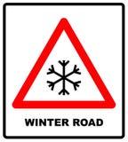 Warnzeichen des Schnees, verwittert mit snowflaces Auch im corel abgehobenen Betrag rotes Dreiecksymbol lokalisiert auf Weiß Die  vektor abbildung