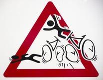 Warnzeichen für Fahrradunfälle Stockfoto