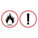 Warnzeichenfeuer und Warnzeichenausrufezeichen in einem Kreis von Sorgfalt Lizenzfreie Stockfotos