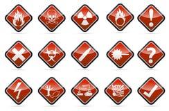 Warnzeichensatz der Gefahrenrunden Ecke Stockbilder