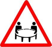 Warnzeichensymbol des Geschäftstreffens Rotes Warnsymbolzeichen des Verbots auf weißem Hintergrund Stockbild