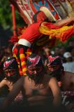Warok and the dancer of Reog Ponorogo stock photo