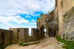 Warowny średniowieczny miasto Carcassonne w Francja obraz royalty free