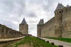 Warowny średniowieczny miasto Carcassonne w Francja zdjęcia royalty free
