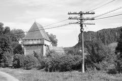 Warowny średniowieczny saxon kościół w wiosce Bradeni, Henndorf, Hegendorf, Transylvania, Rumunia Fotografia Royalty Free